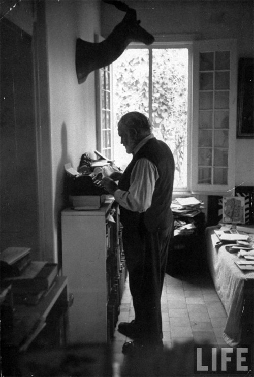 "As this Life photo of Hemingway is sprinkled across the Internet with a caption that it ""may"" be copy written, I'll remove it  immediately if copyrights are declared."